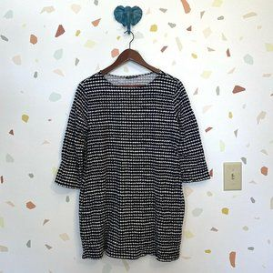 MARIMEKKO Black White Retro Dot Print Knit Top